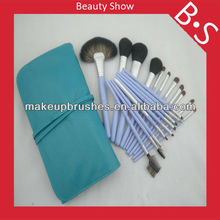 Wholesale cosmetics brush 20pcs blue makeup brush set,pro blue makeup/cosmetic brush set with green leather bag