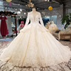 LS3425 o-neck crystal bead ball gown white lace simple wedding dress with long sleeve