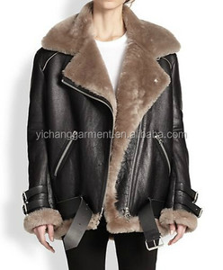 Oversize Lamb Woman Leather Shearling Moto Jacket