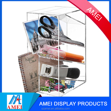 Clear Acrylic Office Desktop Letter Mail File Sorter With Pencil Holder