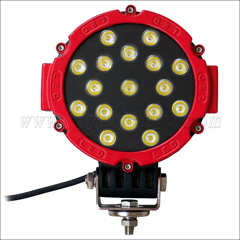 "2x Red 51w Round Offroad 7"" Led Light Markets Brightest Spot Worklight Off Road Fog Driving light Jeep exterior led spot light"