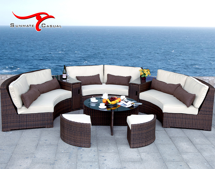Modern Aluminum Semi-circle Sectional Sofa Patio Garden Furniture Outdoor Rattan Wicker Sofa Set