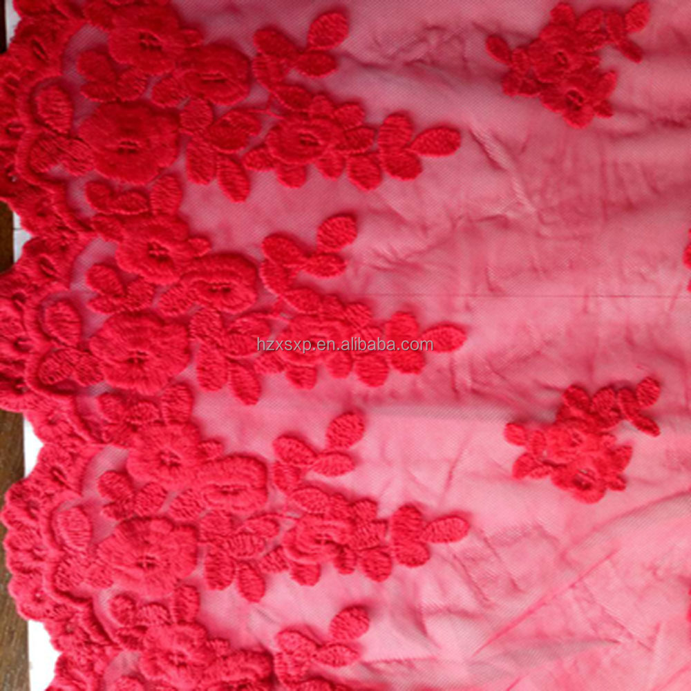 Beautiful red polyester / cotton embroidered fabric for fashion garment