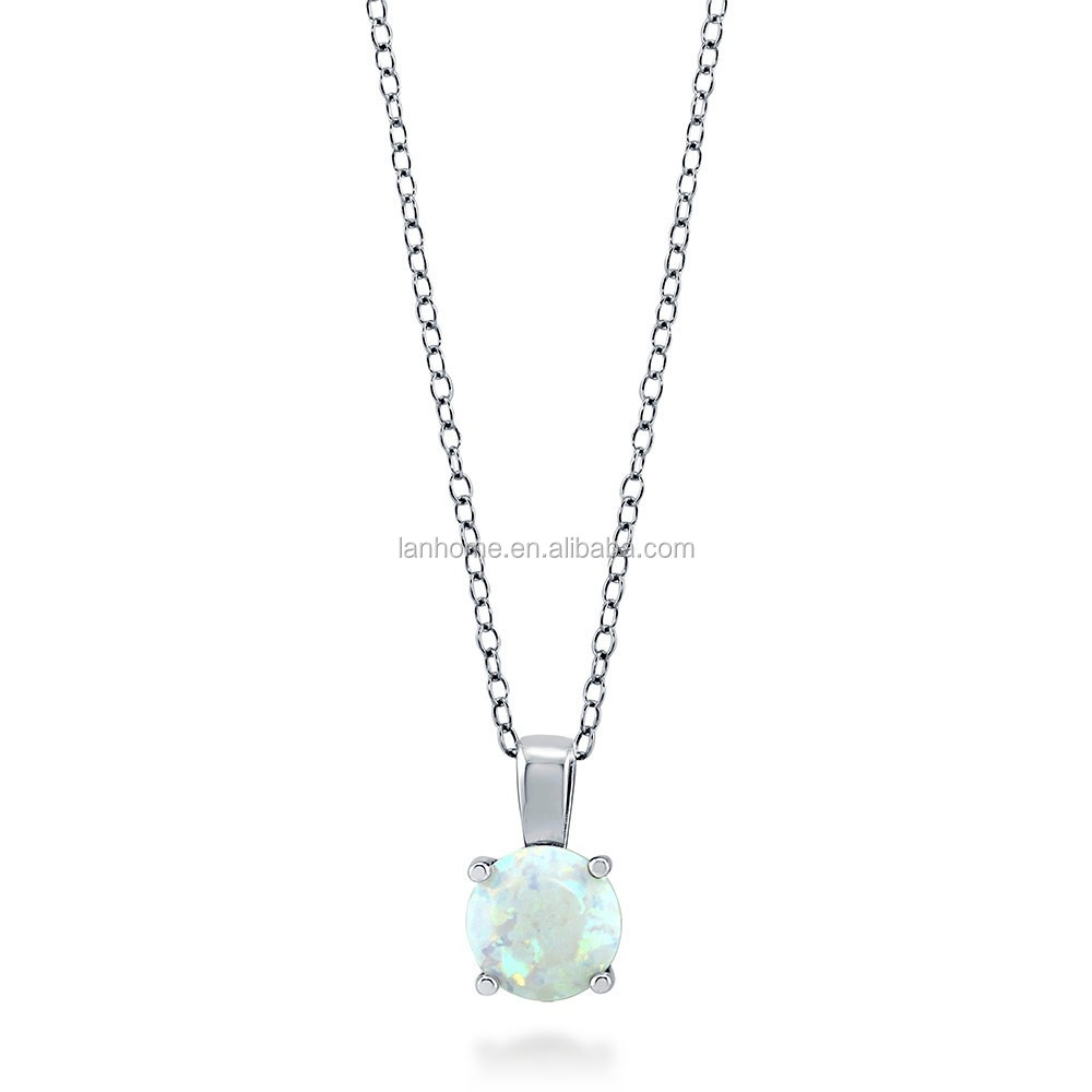 Simple 925 Sterling Silver Round Opal Pendant for Girl
