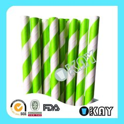 Good Quality Latest Mint And White Stripe Paper Straws
