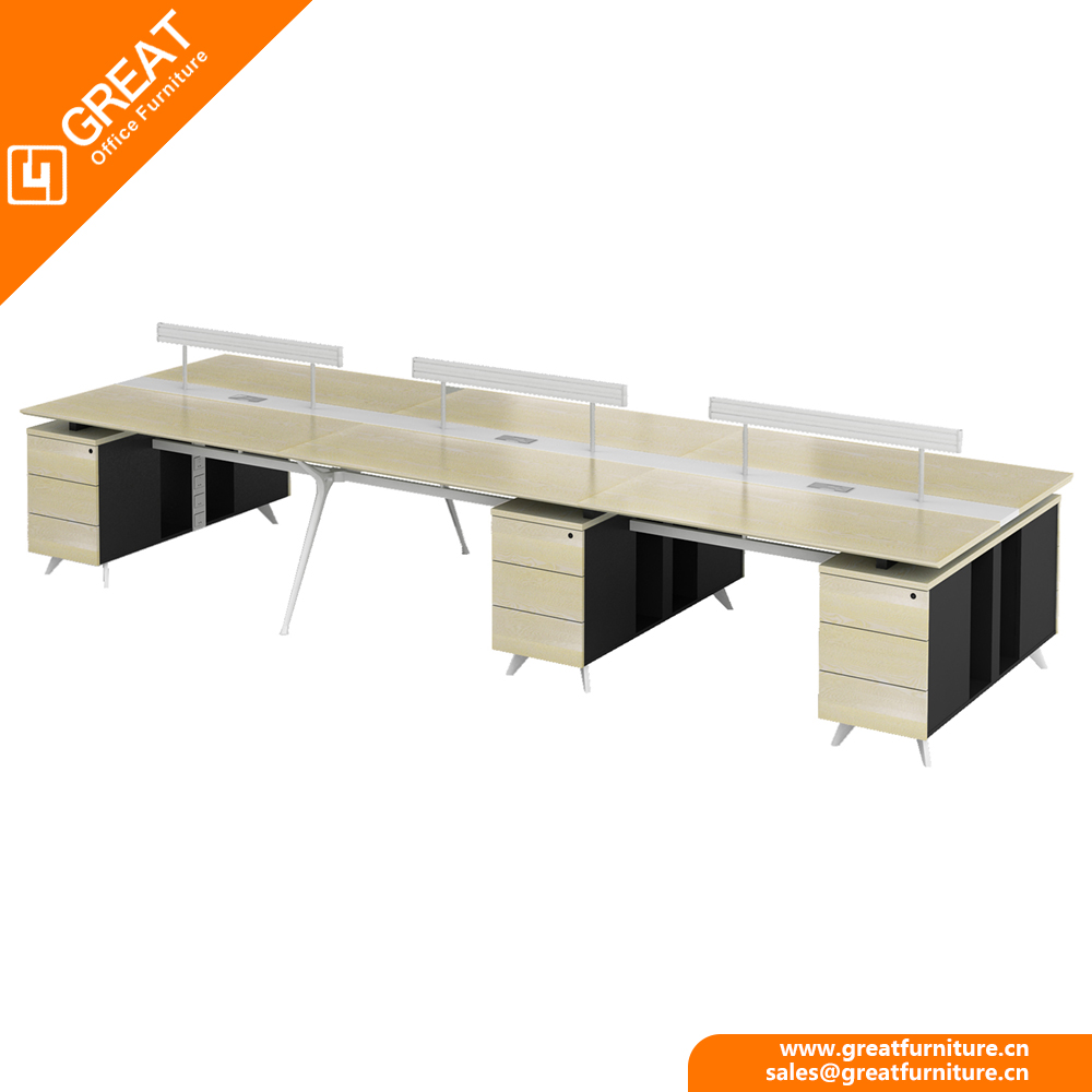 top quality modern desig 6 person computer desk for workers