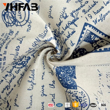 Cotton fabric for curtian sofa English words blue pattern printing cotton fabric