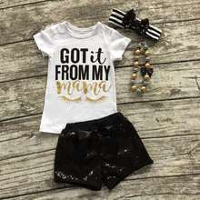 "2016 Eyelash summer girls boutique clothing black Sequins""got it from my mom"" shorts outfit with matching necklace and bow set"