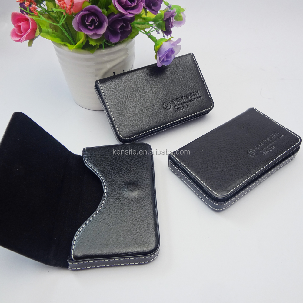 custom high quality black pu leather busines card holder
