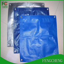 High Quality Cheap Price 280gsm virgin material blue pe tarpaulin 3mx4m finished size with reinforced corner and pp rope