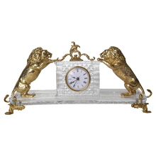 European style crystal glass lion animal bronze decor clock themes
