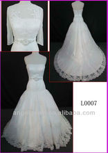 2014 elegant tulle lace A-line wedding gown with beaded belt and long sleeves scarf L0007