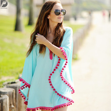 new models fashion girls Oversized poncho cotton ball bikini beach dress skirts blouse with fringes