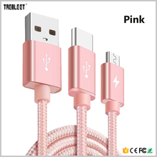 Fast charging nylon braided 2 in 1 usb charging cable for android