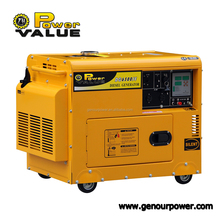 Genour Power ZH8600 188F High Quality 6.5kva silent generator set electric start battery wheel 100% copper