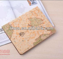 world map design leather case cover for Apple iPad 2 3 4