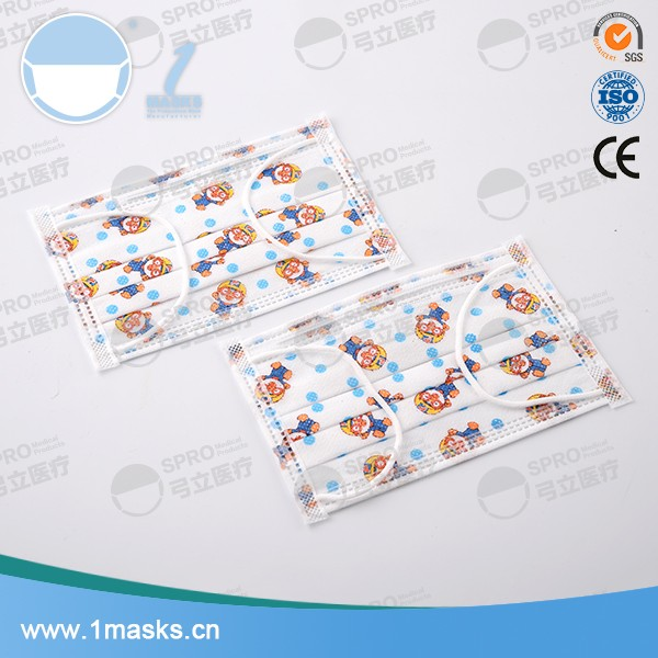China kid size 3 ply cartoon disposable nonwoven custom printed surgical mask