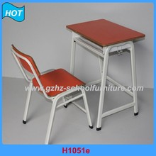KD structure adjustable height iron classroom children desk and chair