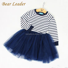 Bear Leader 2017 Long Sleeve Blanck&White Striped Mesh Design <strong>Girl</strong> Child <strong>Dress</strong>