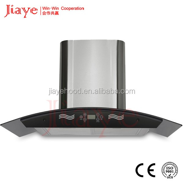 Timer Display Sensor Control Roof Glass SS Chimney Automatic Clean Made In China Range Hood JY-HP9025