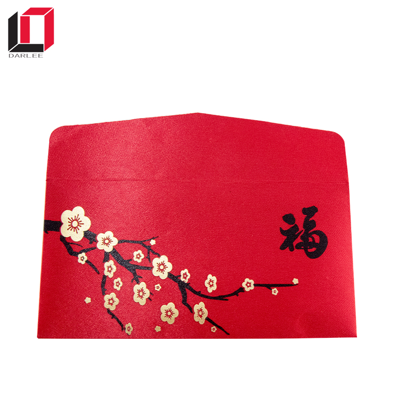 2018 recyclable custom paper envelope embossed special chinese red packet