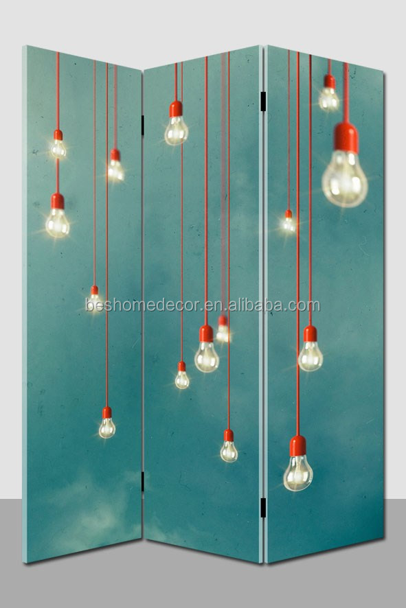 Wholesale illuminated bulb room divider,3 panel lighted canvas screen