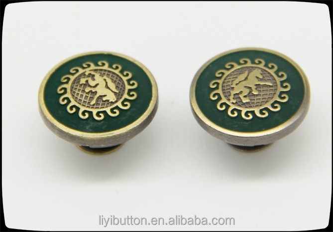 fashion covered button for coat, green rubber enamel button used clothing