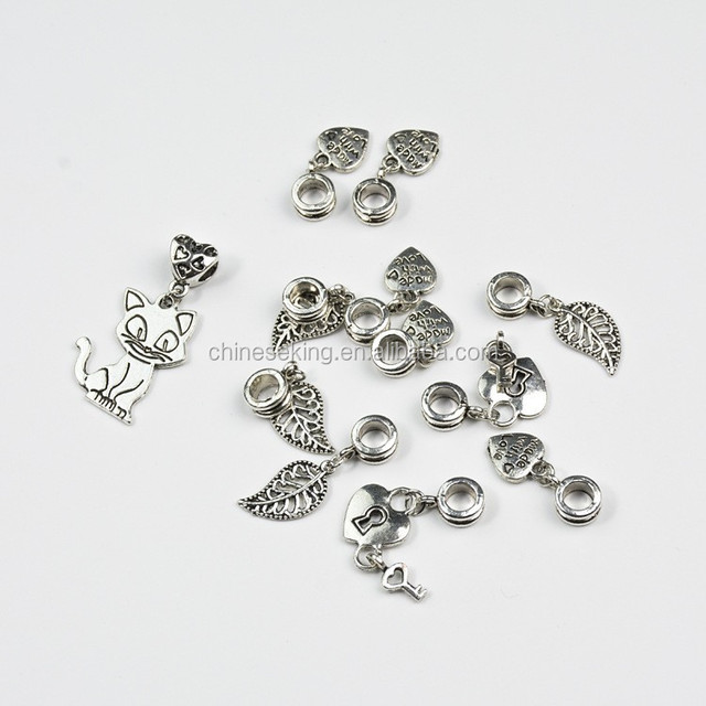 Personalized Heart Leaf Cat bead charm European big hole bead charm Large Hole Bead Charm for Europe Bracelet style