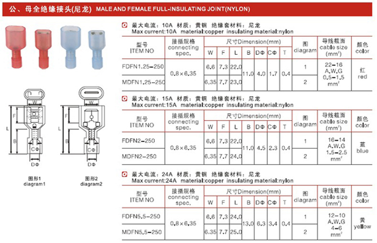 T30-FDFN male female full insulated terminal FDFN Nylon Female Spade Connector