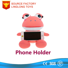 Oem Custom 3D Cartoon Animal Plush Display Stand Plush Frog Phone Holder Red Frog Mobile Cell Phone Holder