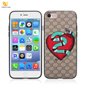 Vintage style embroidery PU case for iphone 8