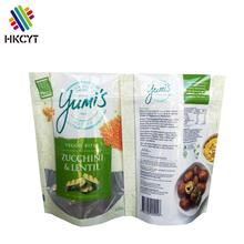 Custom printing stand up dried vegetable packaging bag resealable food plastic zipper bag
