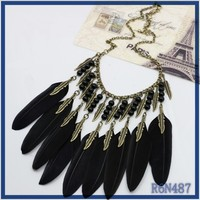 factory price wholesale jewelry los angeles california 2016 trendy ethnic black feather necklace for party women