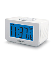 English French German Italian Spanlish japanese talking alarm clock with indoor temperature and humidity