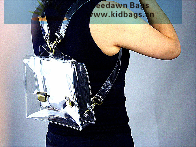 Ladys Clear Vynil Backpack Coating wth Transparent PVC Removable Metal Hook Backing Straps