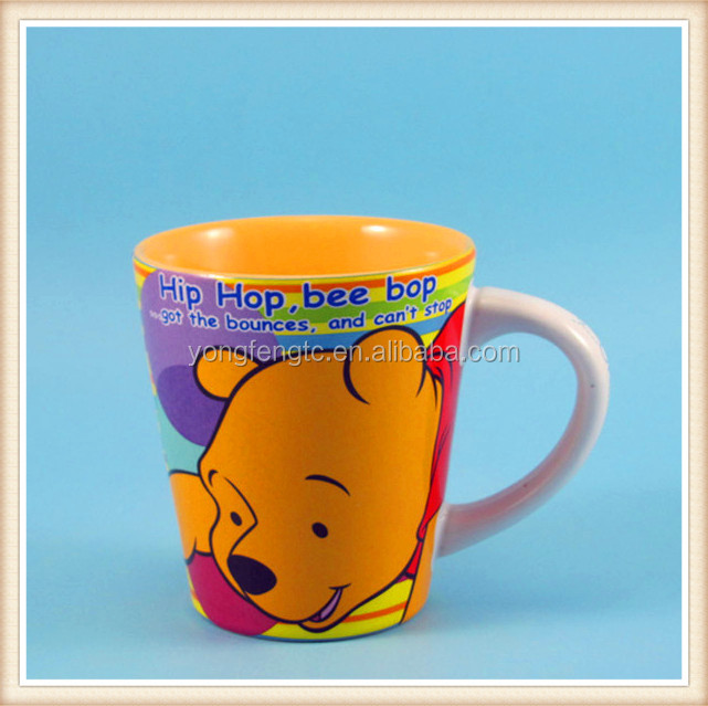 YF18066 kids ceramic mug with cartoon print