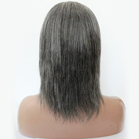 Premier virgin brazilian hair 100% density short hair length 8 inch grey human hair full lace wig