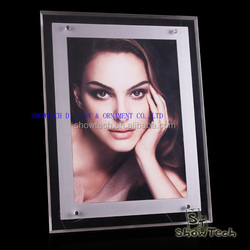 Elegant 2 sides clear acrylic picture frame poster display racks double sides LED acrylic frame light box ST-APFLA1 E05