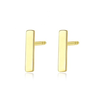 CZCITY New Soild 14K Gold Simple Strip Stud Earrings for Women Minimalist Daily Wearing Yellow Gold Earrings Jewelry Au585
