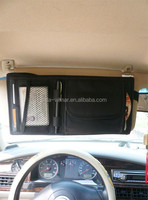 car sun visor organizer with CD card and name card with black color