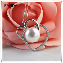 heart shape button/flat freshwater pearl pendant necklace with 925 silver findings