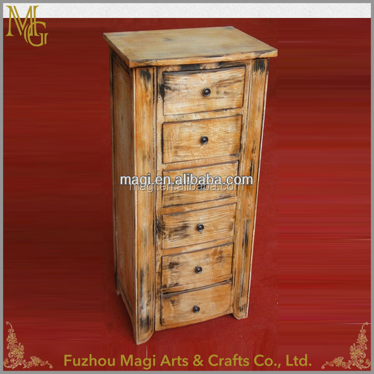 Recycled indoor furniture multi-drawer country style wooden cabinet