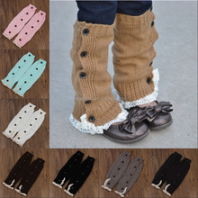 Fashion acrylic baby leg warmers with ruffle wholesale baby lace buttons leg warmers