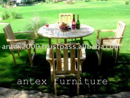 Teak Garden Furniture: Round Table and Stacking Chair