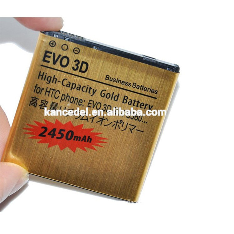 Working temperature about -10 to +50 degree centigrade gold battery For HTC EVO 3D