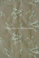 ivory/gold embroidery organza fabric for wedding