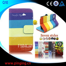 Small MOQ Wholesale Fashion Printed Stand Wallet Leather Flip Cover for BlackBerry Q10