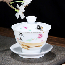 Ceramic Chinese Tea Cups, White Porcelain Custom Printed Ceramic Tea Cups And Saucers