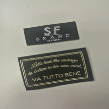 Cute fancy brand gold silver color thread clothing labels custom woven neck labels For Garment