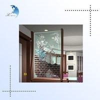 Elegant Screen Printing Art Decoration Living Room Glass Partition